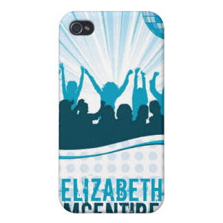 Blue DJ Spin Party Personalized iPhone 4 Case