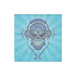 Blue DJ Sugar Skull with Rays of Light Stone Magnet