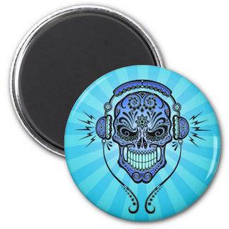 Blue DJ Sugar Skull with Rays of Light Fridge Magnets