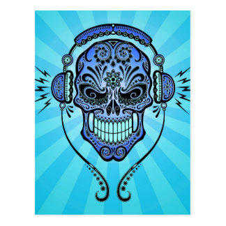 Blue DJ Sugar Skull with Rays of Light Postcard