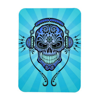 Blue DJ Sugar Skull with Rays of Light Rectangle Magnets