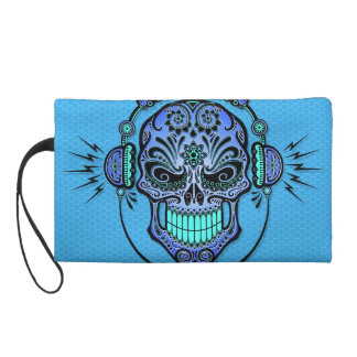 Blue DJ Sugar Skull Wristlet Purse