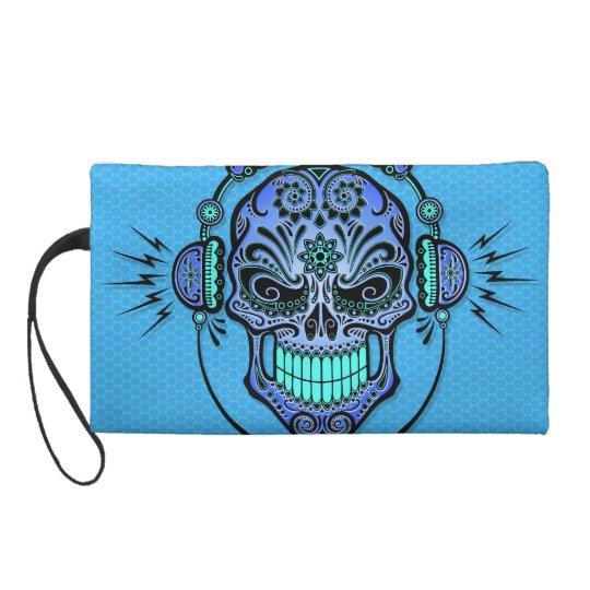 Blue DJ Sugar Skull Wristlet Purse