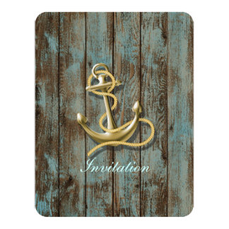 blue dock wood beach anchor nautical wedding personalized announcement