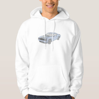 Blue Dodge Challenger Muscle Car Drawing  Men's Hoodie