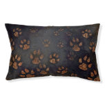 Blue Dog Bed Brown Paw Prints