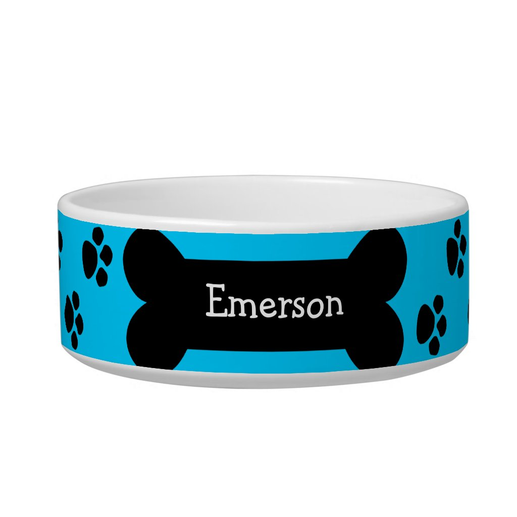 Blue Dog Bowl With Paws and Bone