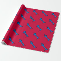 Blue Dog Christmas Wrap Wrapping Paper