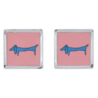 Blue Dog Dachshund on pink Silver Cufflinks