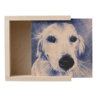 Blue Dog Drawing Wooden Keepsake Box