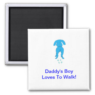 Blue Dog Ears Down Daddy's Boy 2 Inch Square Magnet