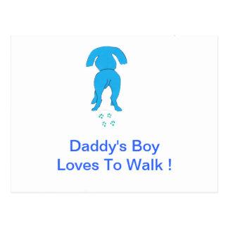 Blue Dog Ears Down Daddy's Boy Postcard