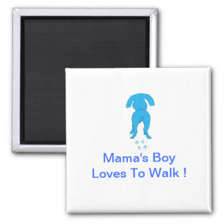 Blue Dog Ears Down Mama's Boy 2 Inch Square Magnet