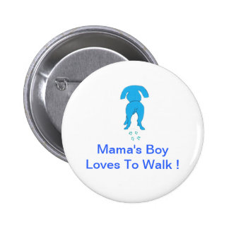 Blue Dog Ears Down Mama's Boy Pinback Button
