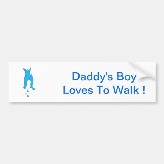 Blue Dog Ears Up Daddy's Boy Bumper Sticker
