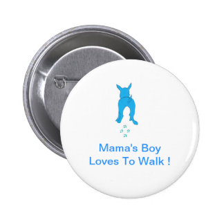 Blue Dog Ears Up Mama's Boy Pinback Button
