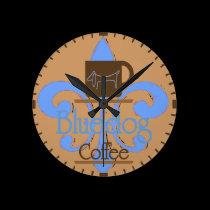 Blue Dog, Fleur De Lis Coffee wall clocks