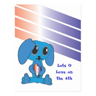 Blue Dog Hearts 4th of July Postcard