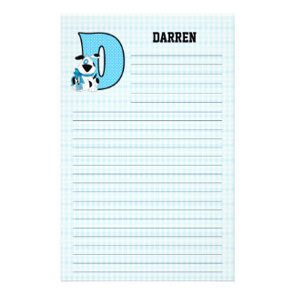 "Blue Dog Mongrammed ""D"" Lined Stationery"