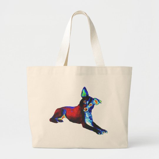 Blue Dog of Happiness Large Tote Bag