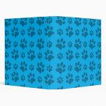 Blue dog paw print 3 ring binder