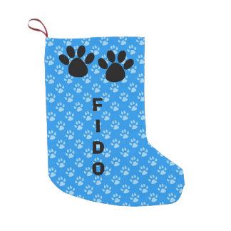 Blue Dog Paw Print Christmas Stocking Small Christmas Stocking