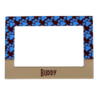 Blue Dog Paw Print Magnetic Picture Frame