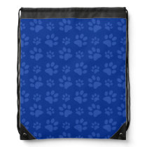 Blue dog paw print pattern drawstring bag
