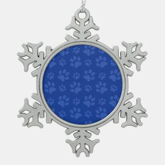 Blue dog paw print pattern snowflake pewter christmas ornament
