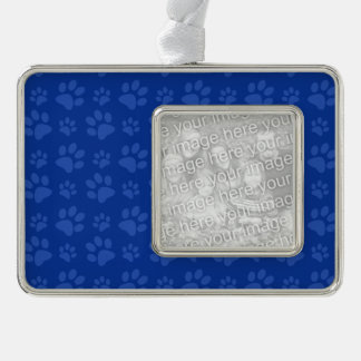 Blue dog paw print pattern silver plated framed ornament