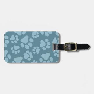 Blue Dog Paw Prints Pattern Bag Tag