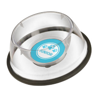 Blue Dog Paws And Custom Name Pet Bowl