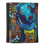 Blue Dog  Pit Bull Mix Leather Trifold Wallets