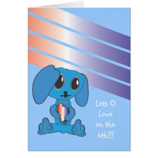 Blue Dog with Heart 4th of July Card