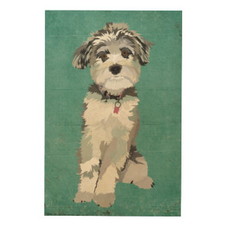 Blue Dog Wooden Canvas Wood Wall Art