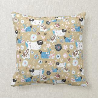 Blue Doggie Pattern Throw Pillows