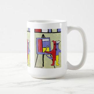 """Blue Dogs as Artists"" Series by Artist Elizabeth Classic White Coffee Mug"