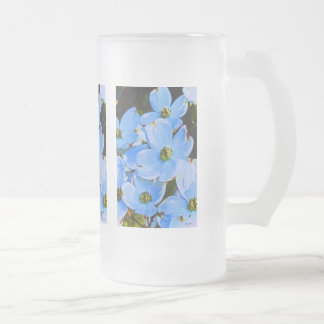 Blue Dogwood Frosted Glass Beer Mug
