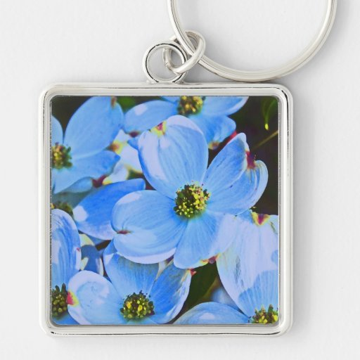 Blue Dogwood Silver-Colored Square Keychain