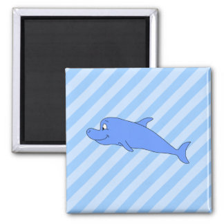 Blue Dolphin. 2 Inch Square Magnet