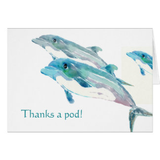 Blue Dolphin Art Funny Thank You Cards