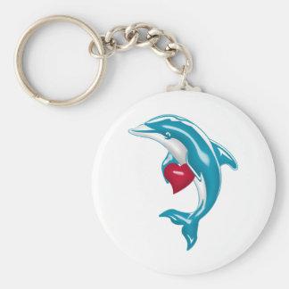 Blue Dolphin Basic Round Button Keychain