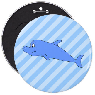 Blue Dolphin. Pinback Buttons