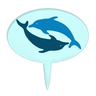 Blue Dolphin Duet Cake Topper