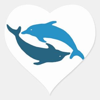 Blue Dolphin Duet Heart Sticker