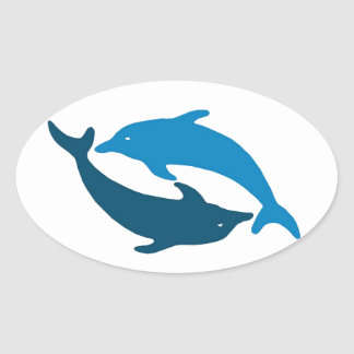 Blue Dolphin Duet Oval Sticker