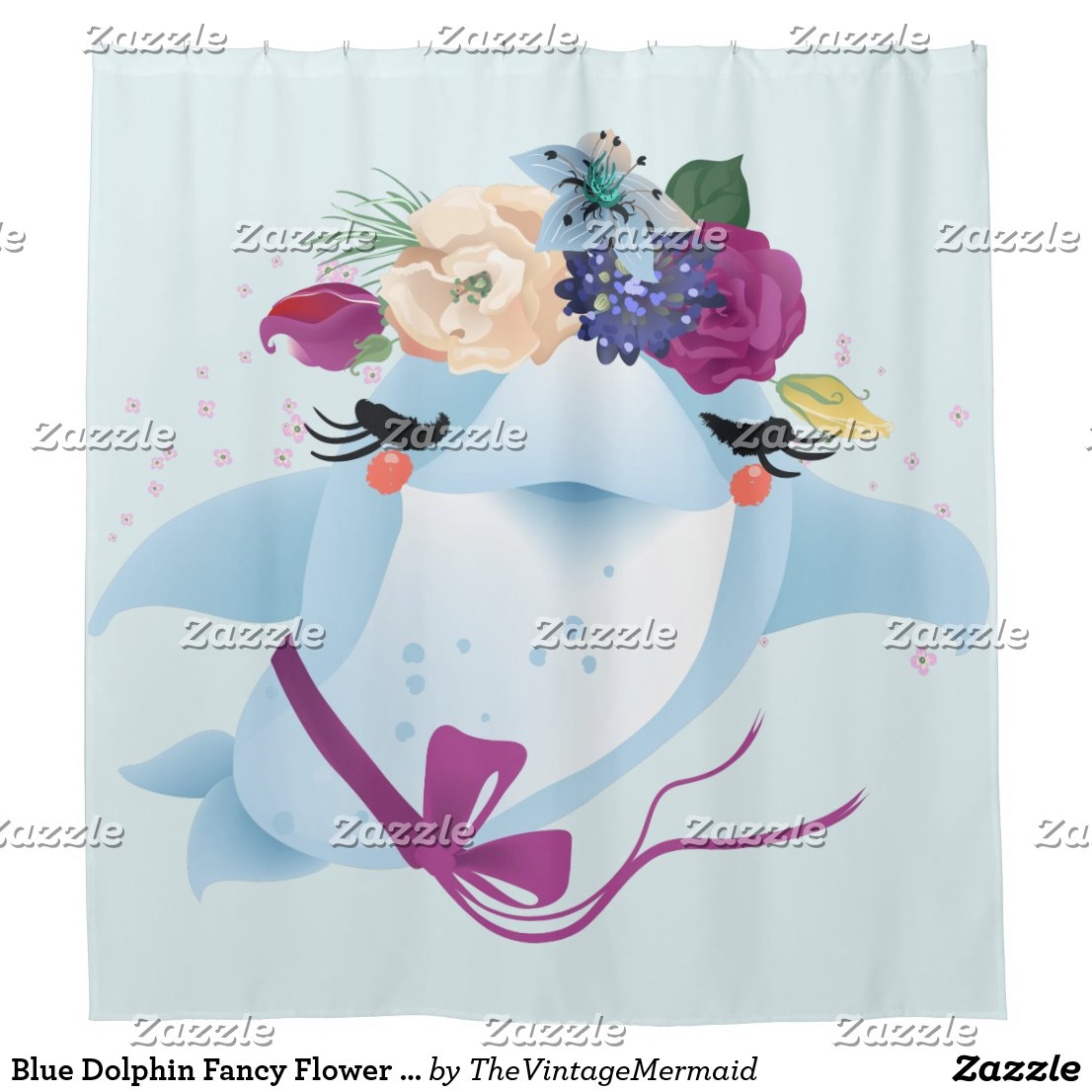 Blue Dolphin Fancy Flower Headpiece Shower Curtain