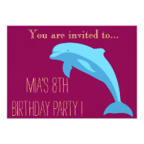 Blue Dolphin girl or tween birthday party Invitation