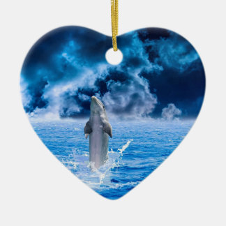 Blue Dolphin Jumping Ceramic Ornament