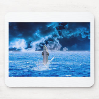Blue Dolphin Jumping Mouse Pad